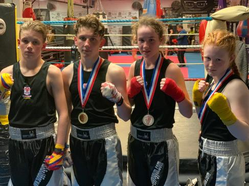 Midlands Vest winner Alfie Briggs-Price (left) with Sam, Chloe and Lauren
