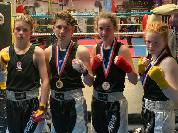 Midlands Vest winner Alfie Briggs-Price (left) with Sam, Chloe and Lauren
