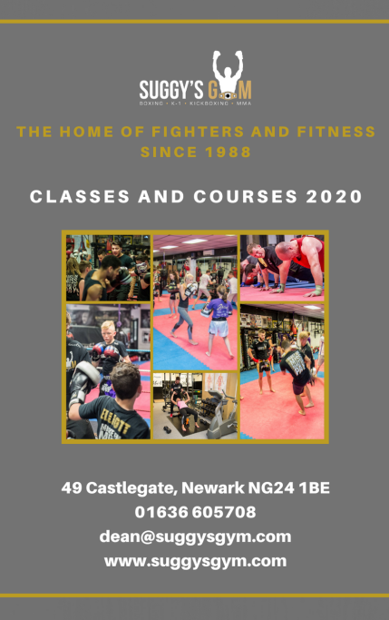 suggy's gym timetable flyer 2020 front cover
